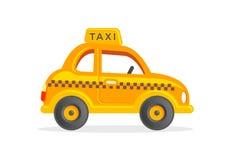 Stuk speelgoed taxiauto Vectorillustratie van de beeldverhaal de Gele Cabine Stock Foto's