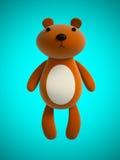 Stuk speelgoed teddybeer bij het blauwe 3D teruggeven wordt geïsoleerd die Stock Foto