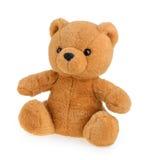 Stuk speelgoed teddybeer op wit wordt geïsoleerd dat royalty-vrije stock foto