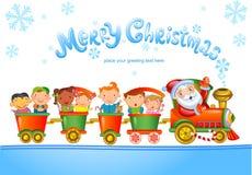 Stuk speelgoed trein met Santa Claus en jonge geitjes Royalty-vrije Stock Foto