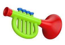 Stuk speelgoed trompet op een witte achtergrond wordt geïsoleerd die Stock Afbeelding