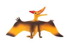 Stuk speelgoed van vooraanzicht het oranje pterosaurs op witte achtergrond Royalty-vrije Stock Foto