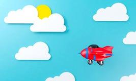 Stuk speelgoed vliegtuig die boven van de wolkenhemel vlak ontwerp als achtergrond vliegen royalty-vrije illustratie
