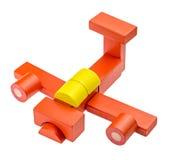 Stuk speelgoed vliegtuig van gekleurde houten blokken wordt gemaakt dat Stock Foto