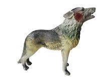 Stuk speelgoed wolf op een witte achtergrond Royalty-vrije Stock Foto