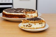 Stuk van binnenlandse kaastaart met chocolade en rozijnen Royalty-vrije Stock Foto's