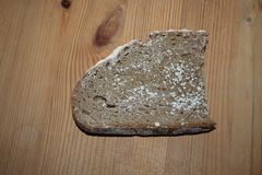 Stuk van brood met schimmel stock foto's