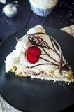Stuk van cake in het nieuwe jaar Stock Foto