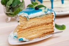 Stuk van cake met blauwe room, munt en bosbessen wordt verfraaid die Stock Afbeelding