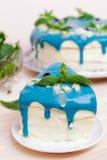 Stuk van cake met blauwe room, munt en bosbessen wordt verfraaid die Royalty-vrije Stock Foto