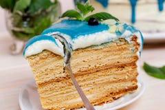Stuk van cake met blauwe room, munt en bosbessen wordt verfraaid die Stock Foto