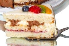 Stuk van cake met bosbessen Stock Afbeeldingen