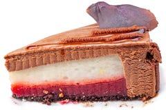 Stuk van cake met chocolade Stock Fotografie