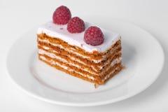 Stuk van cake met een framboos Stock Foto