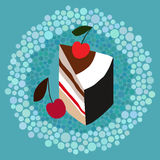 Stuk van cake met kers Royalty-vrije Stock Foto's