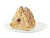 Stuk van cake met noten Stock Fotografie