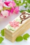 Stuk van cake met room Royalty-vrije Stock Fotografie