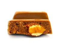 Stuk van chocolade met een noot Royalty-vrije Stock Foto