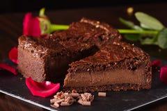 Stuk van chocoladecake Stock Afbeeldingen