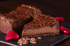 Stuk van chocoladecake Stock Foto's
