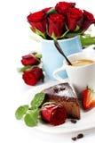 Stuk van chocoladecake met koffie Royalty-vrije Stock Afbeelding