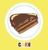 Stuk van chocoladecake met suikerglazuur Cakepictogram Stock Afbeelding
