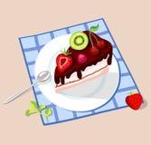 Stuk van chocoladecake op een plaat Royalty-vrije Stock Foto