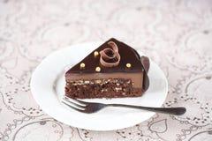 Stuk van de Cake van de Chocolademousse Royalty-vrije Stock Foto's