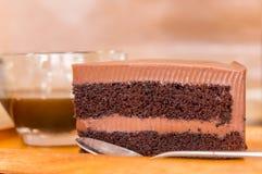 Stuk van de Cake van de Chocoladezachte toffee Royalty-vrije Stock Foto