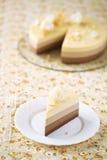 Stuk van de Cake van de Drie Chocolademousse Stock Afbeelding