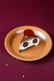 Stuk van de Eigentijdse Cake van de Chocolademousse Stock Afbeeldingen