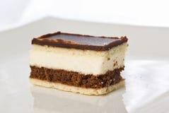 Stuk van een chocoladecake met witte room Stock Afbeeldingen