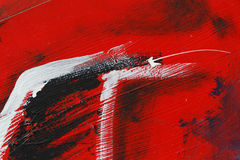 Stuk van geschilderde metaalmuur met zwarte, rode en witte verf Royalty-vrije Stock Afbeeldingen
