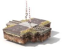 Stuk van grond met spoorweg kruising en weg Kan weglagen zien vector illustratie