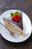 Stuk van heerlijke dessert feestelijke cake met chocolade Stock Afbeeldingen