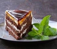 Stuk van heerlijke dessert feestelijke cake met chocolade Stock Fotografie