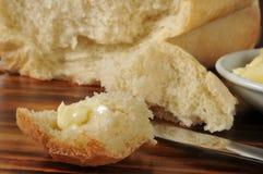 Stuk van heet beboterd brood royalty-vrije stock foto