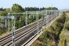 Stuk van het spoor van de hoge snelheidsspoorweg Stock Foto's
