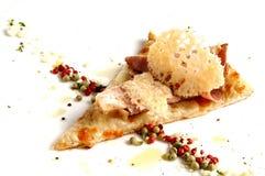 Stuk van Italiaanse pizza. Gezond voedsel. Stock Fotografie