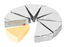 Stuk van kaas in folie Stock Afbeeldingen