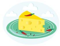 Stuk van kaas met kruid op een groene plaat royalty-vrije stock afbeeldingen