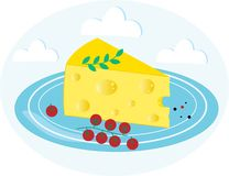 Stuk van kaas op een blauwe plaat met kersentomaten royalty-vrije stock afbeeldingen