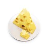 Stuk van kaas op een schotel 3d vector illustratie