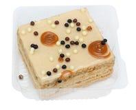Stuk van koekjescake met karamel Stock Afbeeldingen