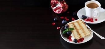 Stuk van laagcake met verse bosbessen, roomkaas en cho Stock Foto