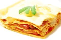 Stuk van lasagna Stock Foto