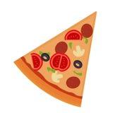 Stuk van pizza met salami, paddestoelen, tomaat Stock Afbeelding