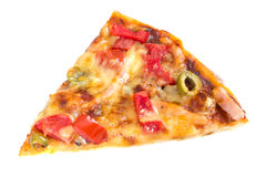 Stuk van pizza op witte achtergrond Stock Foto's