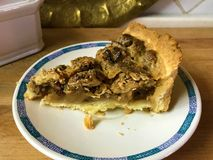 Stuk van scherp met een mengeling van noten en romige karamel stock afbeelding