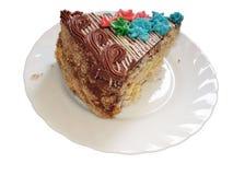 Stuk van verfraaide de cake van de Chocolade Royalty-vrije Stock Fotografie